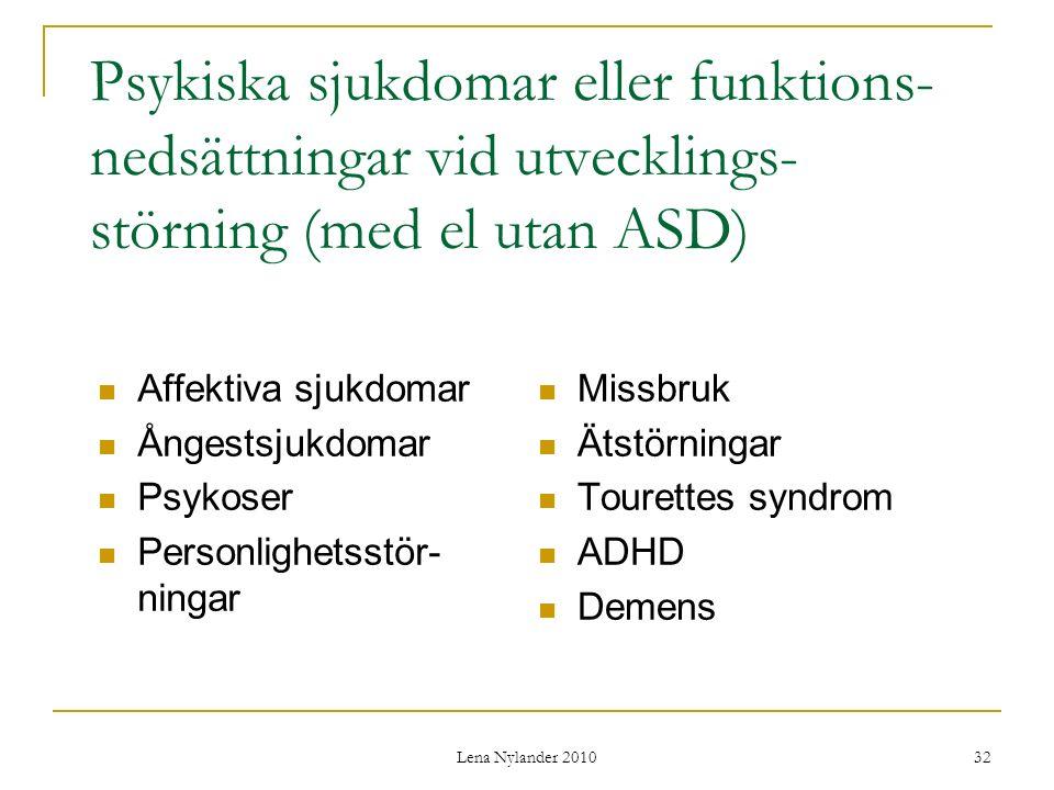 Psykiska sjukdomar eller funktions-nedsättningar vid utvecklings-störning (med el utan ASD)