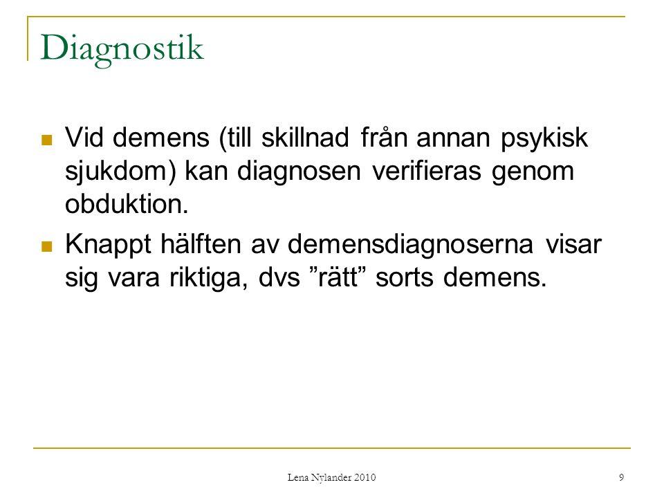 Diagnostik Vid demens (till skillnad från annan psykisk sjukdom) kan diagnosen verifieras genom obduktion.