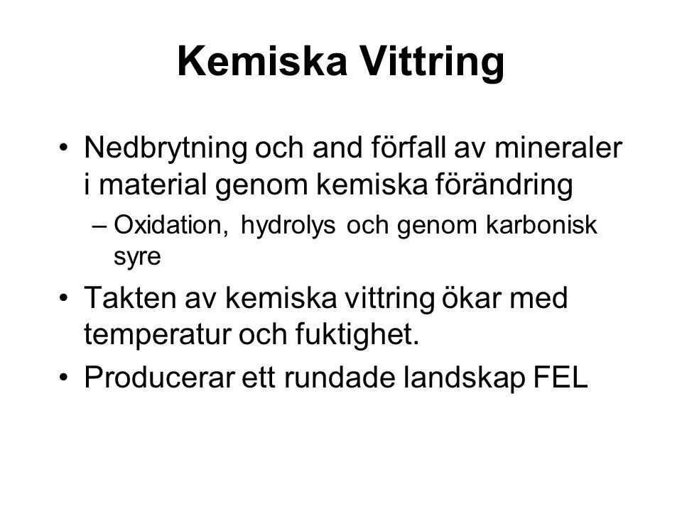 Kemiska Vittring Nedbrytning och and förfall av mineraler i material genom kemiska förändring. Oxidation, hydrolys och genom karbonisk syre.