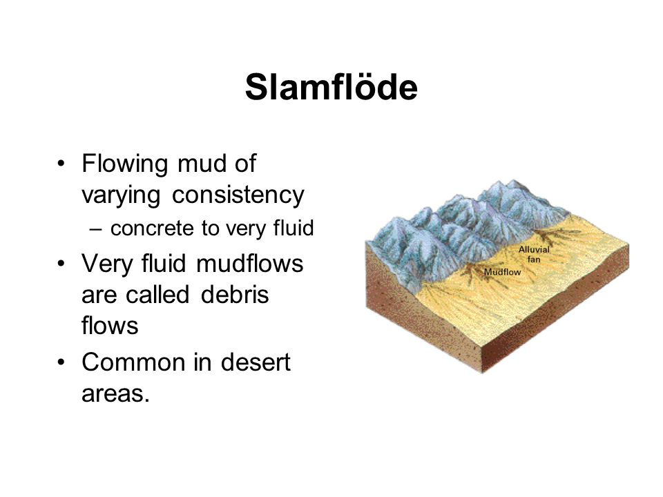Slamflöde Flowing mud of varying consistency