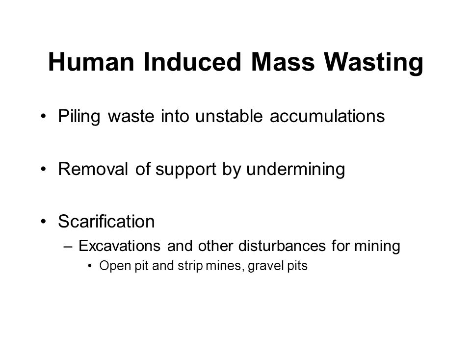 Human Induced Mass Wasting