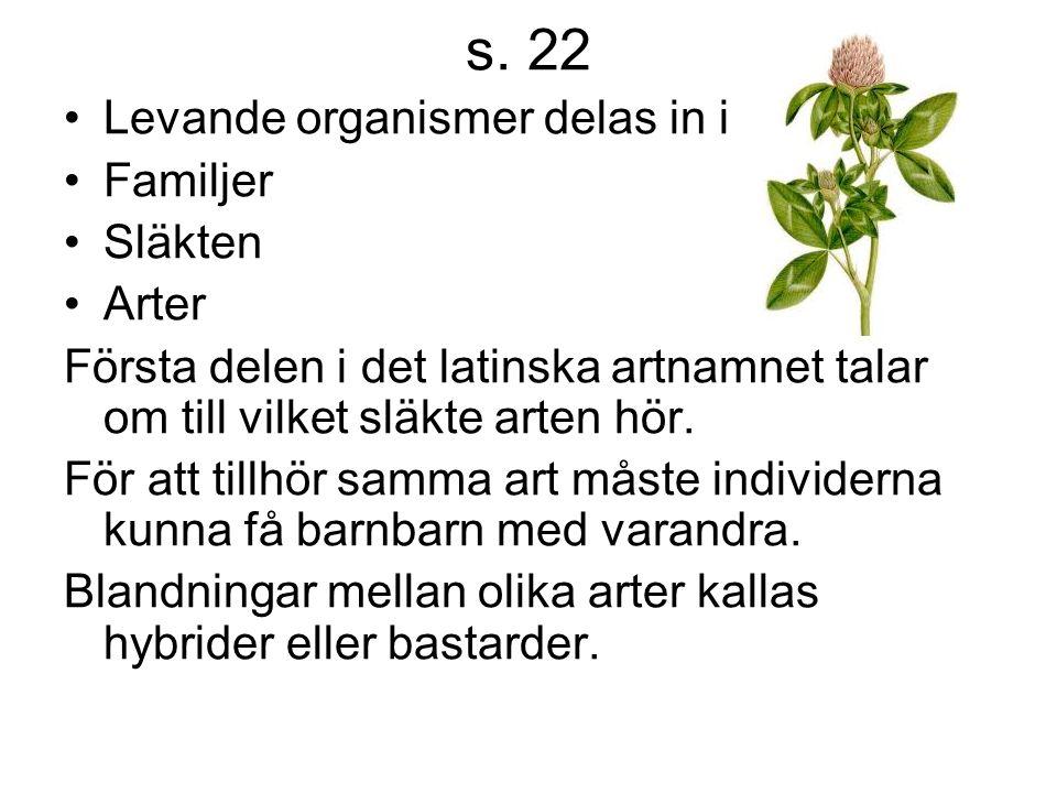 s. 22 Levande organismer delas in i Familjer Släkten Arter