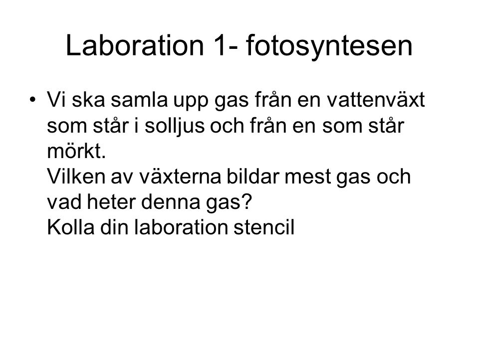 Laboration 1- fotosyntesen