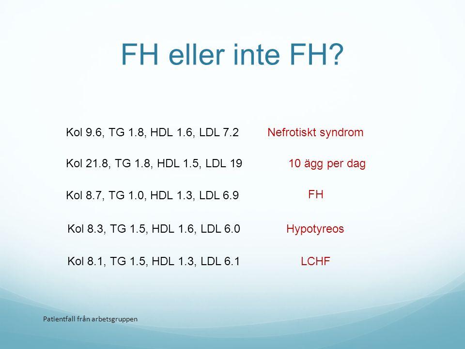 FH eller inte FH Kol 9.6, TG 1.8, HDL 1.6, LDL 7.2 Nefrotiskt syndrom