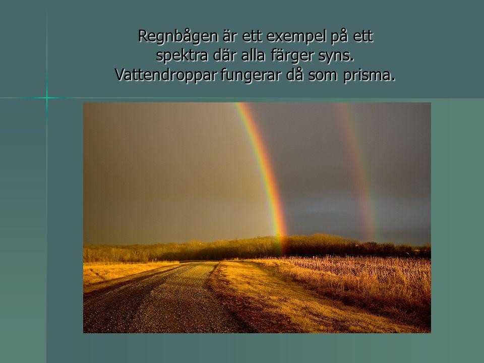 Regnbågen är ett exempel på ett spektra där alla färger syns
