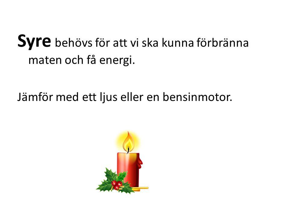 Syre behövs för att vi ska kunna förbränna maten och få energi.