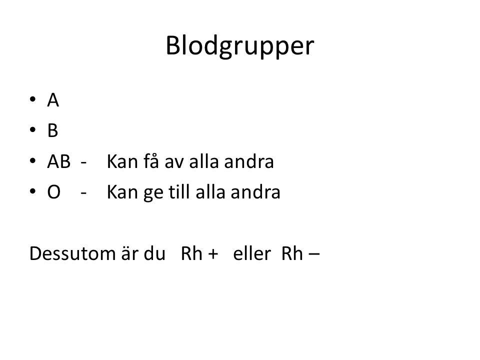 Blodgrupper A B AB - Kan få av alla andra O - Kan ge till alla andra