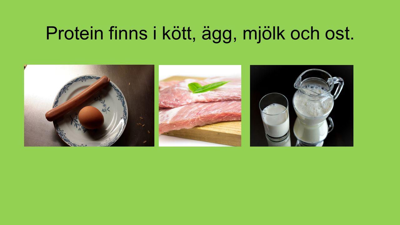 Protein finns i kött, ägg, mjölk och ost.