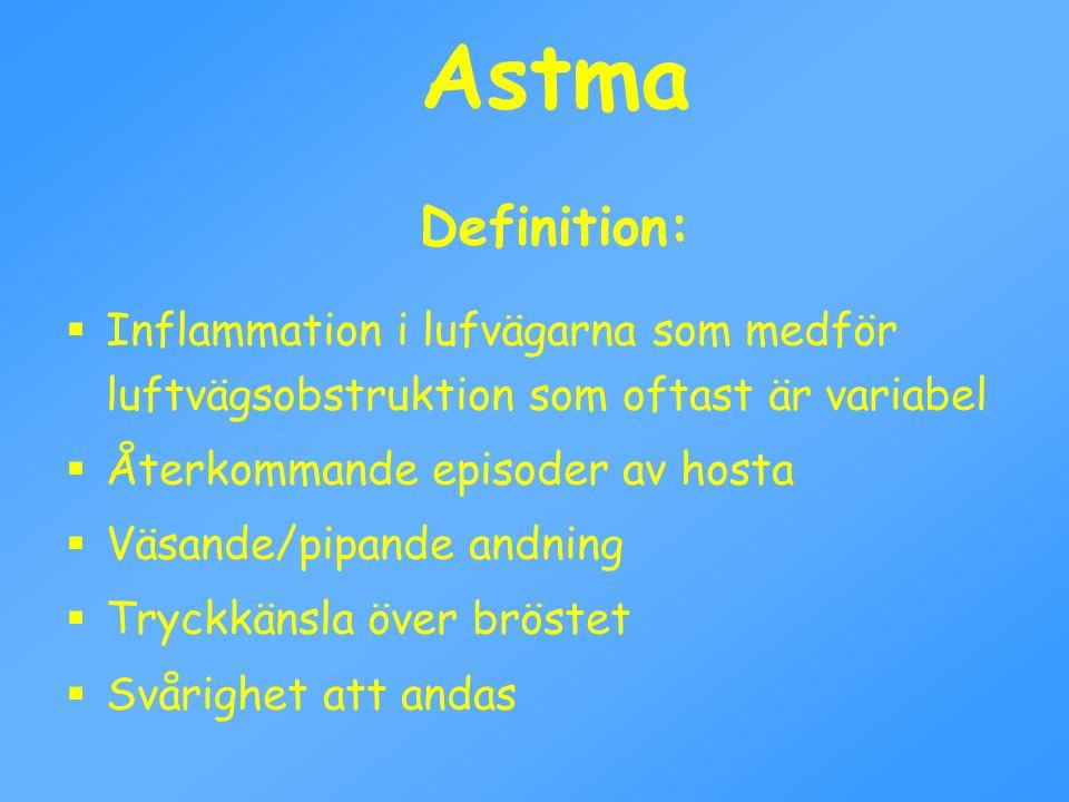 Astma Definition: Inflammation i lufvägarna som medför luftvägsobstruktion som oftast är variabel.