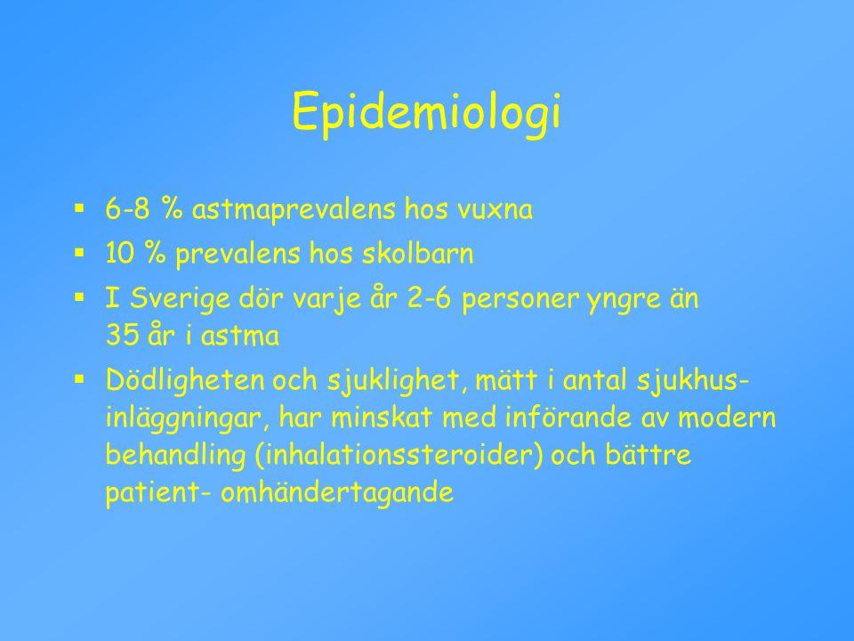 Epidemiologi 6-8 % astmaprevalens hos vuxna