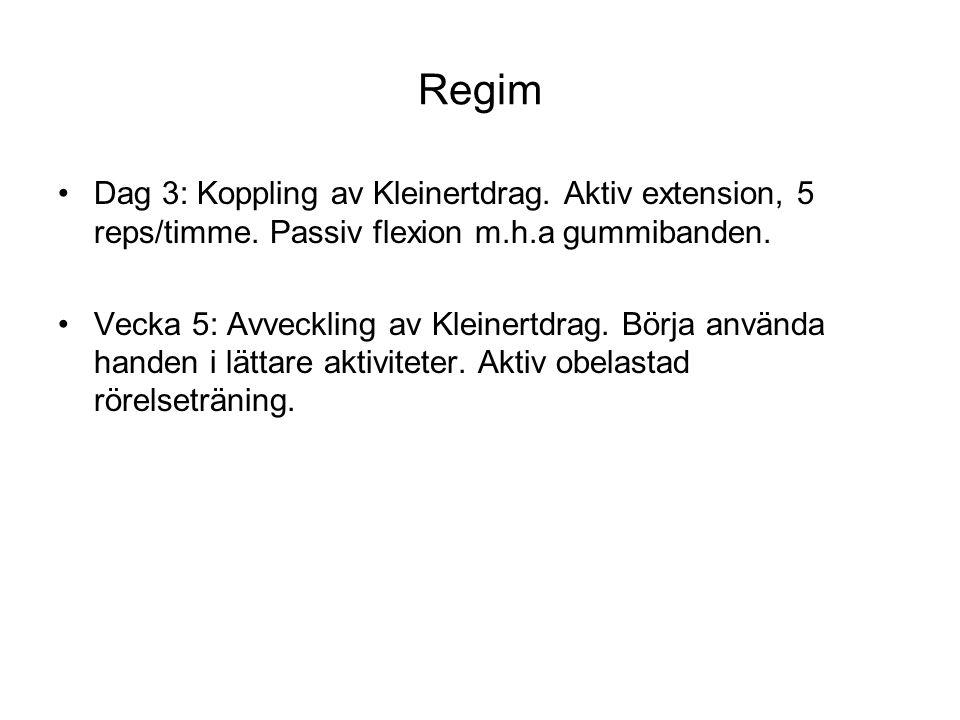 Regim Dag 3: Koppling av Kleinertdrag. Aktiv extension, 5 reps/timme. Passiv flexion m.h.a gummibanden.