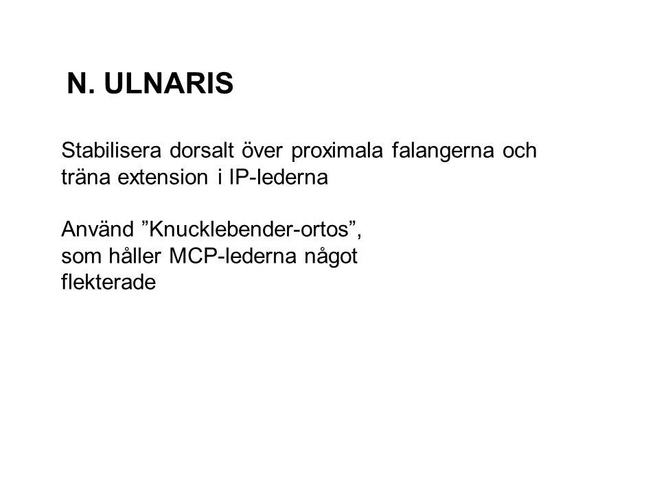 N. ULNARIS Stabilisera dorsalt över proximala falangerna och träna extension i IP-lederna. Använd Knucklebender-ortos ,