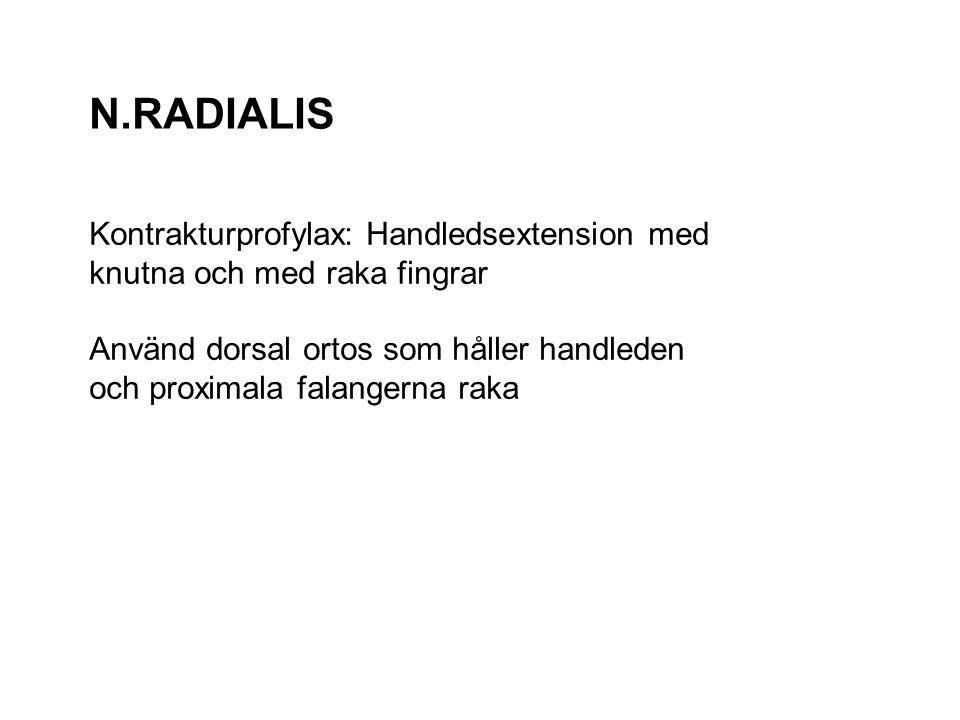 N.RADIALIS Kontrakturprofylax: Handledsextension med