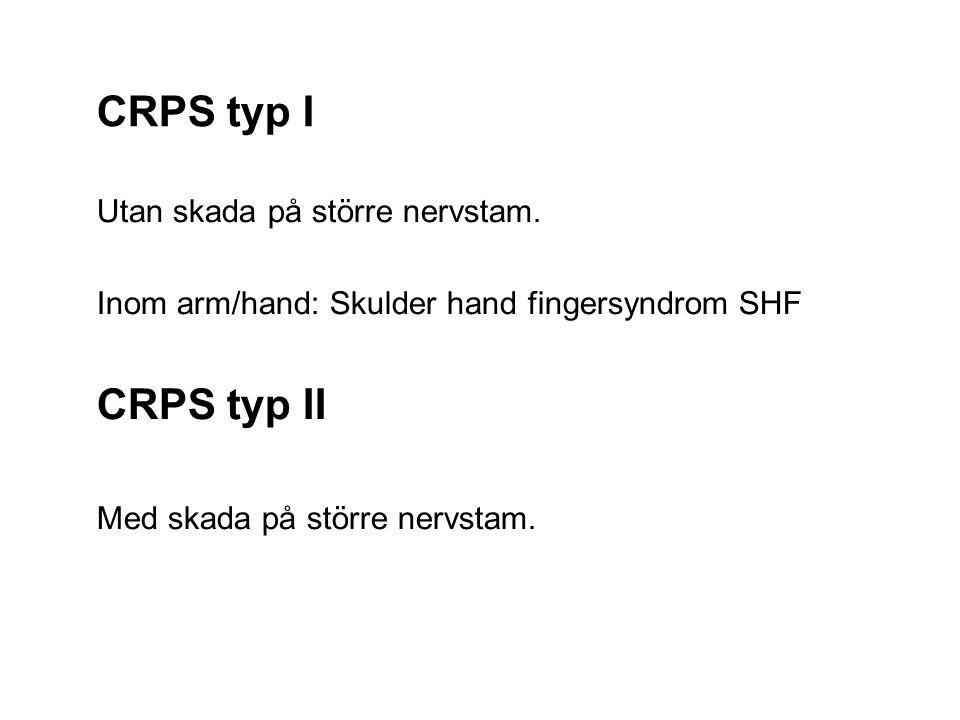 CRPS typ I CRPS typ II Utan skada på större nervstam.