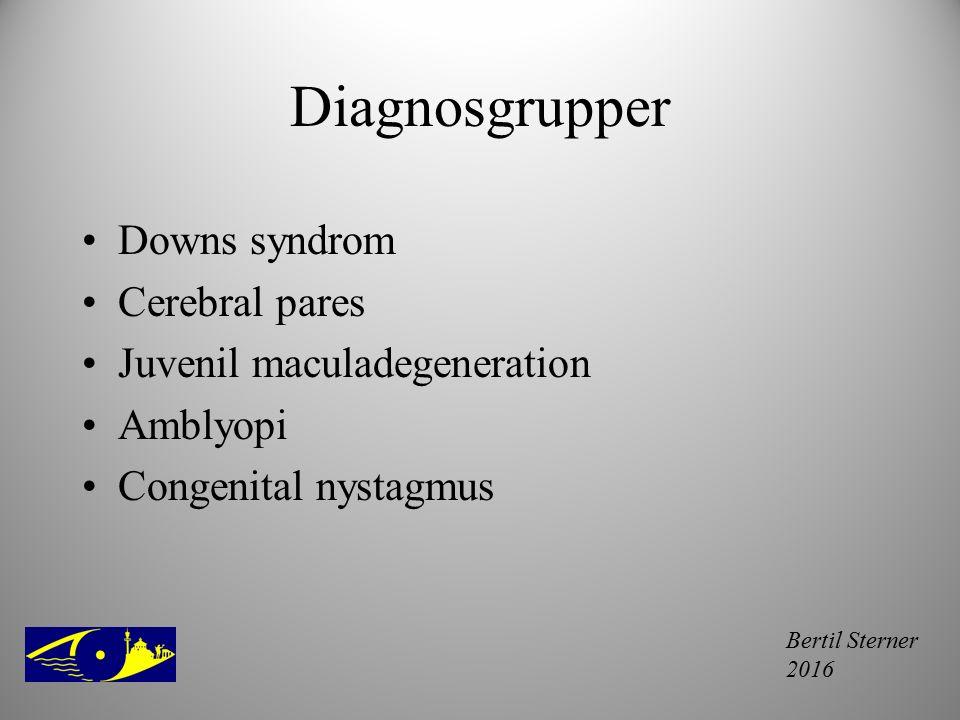 Diagnosgrupper Downs syndrom Cerebral pares Juvenil maculadegeneration