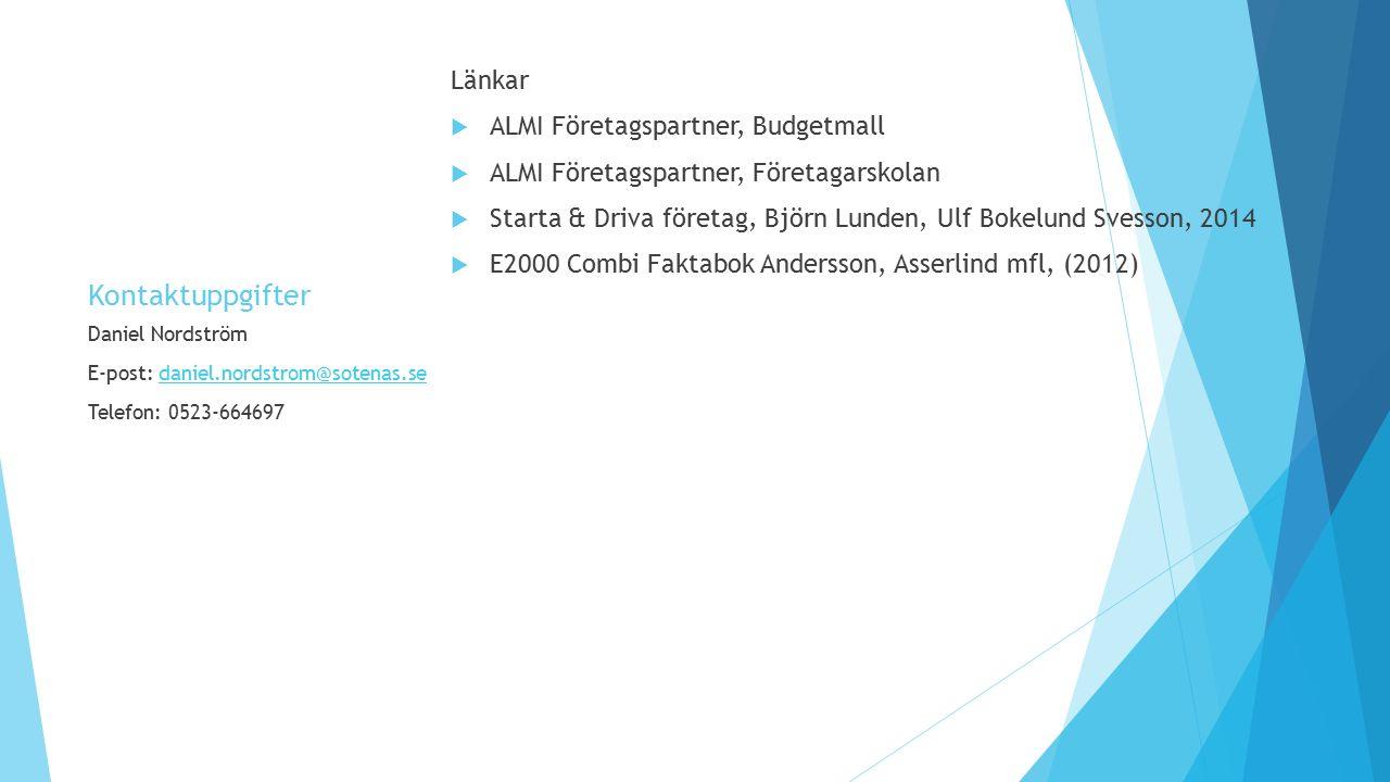 Kontaktuppgifter Länkar ALMI Företagspartner, Budgetmall