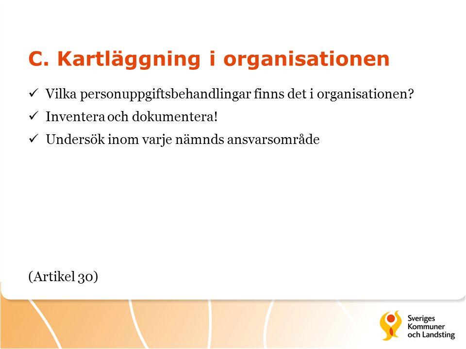 C. Kartläggning i organisationen