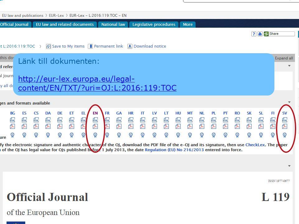 Länk till dokumenten: http://eur-lex.europa.eu/legal-content/EN/TXT/ uri=OJ:L:2016:119:TOC