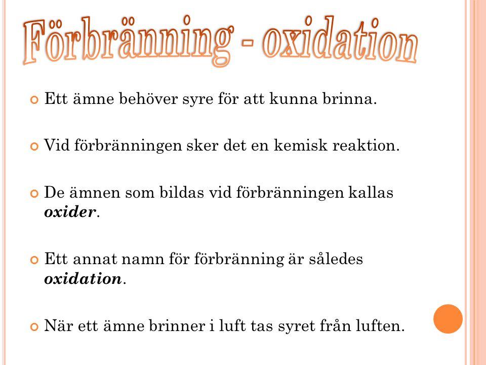 Förbränning - oxidation