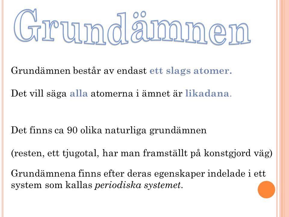 Grundämnen Grundämnen består av endast ett slags atomer.