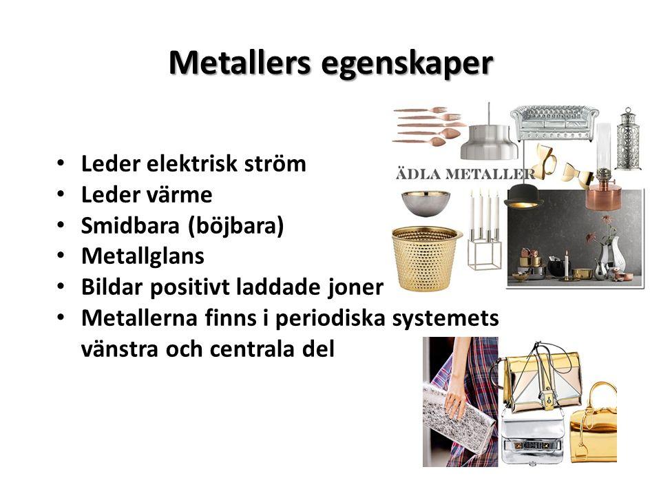 Metallers egenskaper Leder elektrisk ström Leder värme