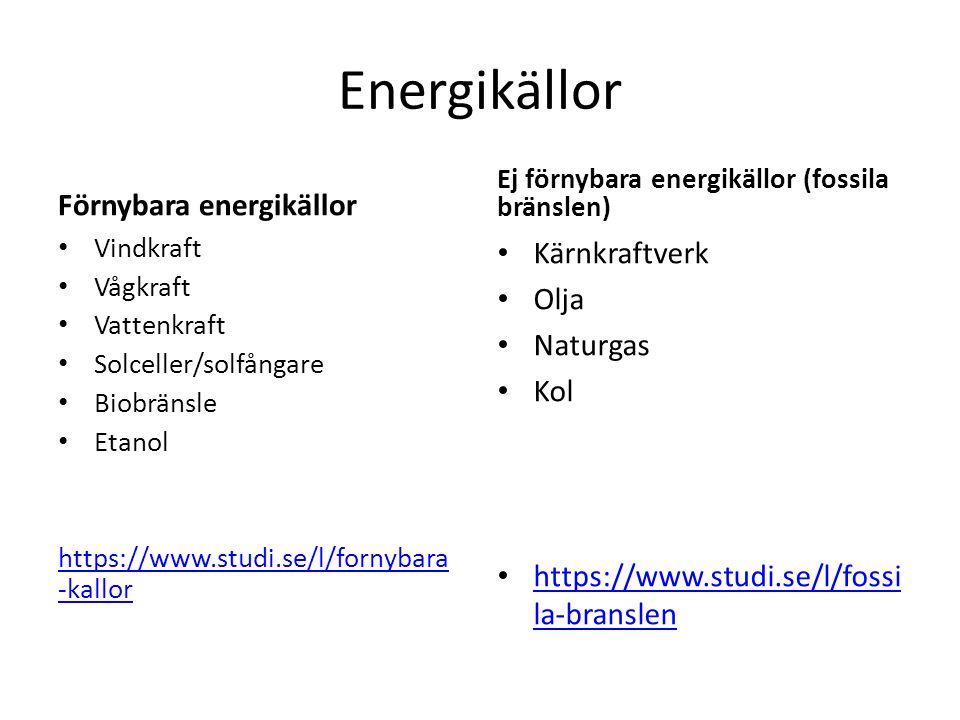 Energikällor Förnybara energikällor Kärnkraftverk Olja Naturgas Kol