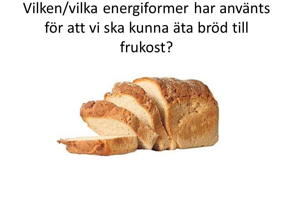 Vilken/vilka energiformer har använts för att vi ska kunna äta bröd till frukost