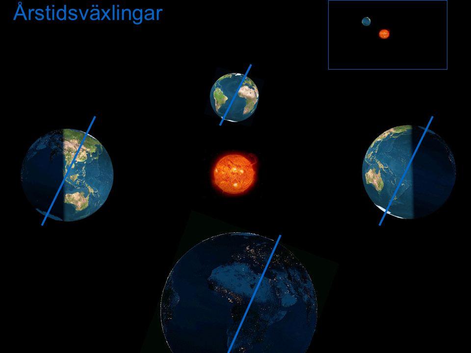 Årstidsväxlingar Årstidsväxling. PÅ vilket sätt är jordens lutning orsaken till olika årstider 4