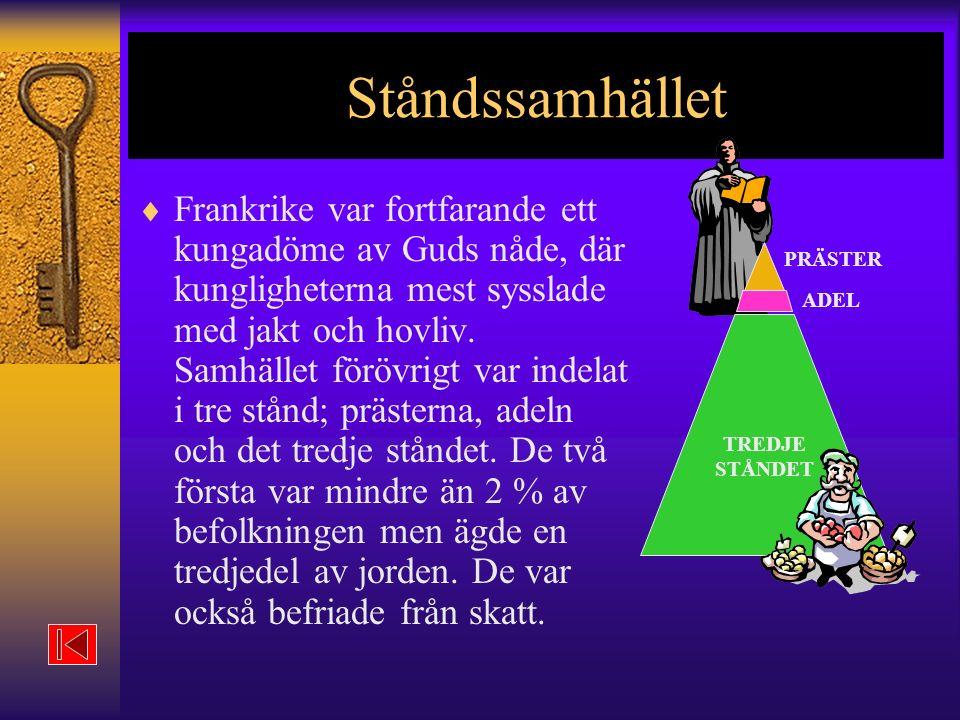 Ståndssamhället PRÄSTER. ADEL. TREDJE. STÅNDET.