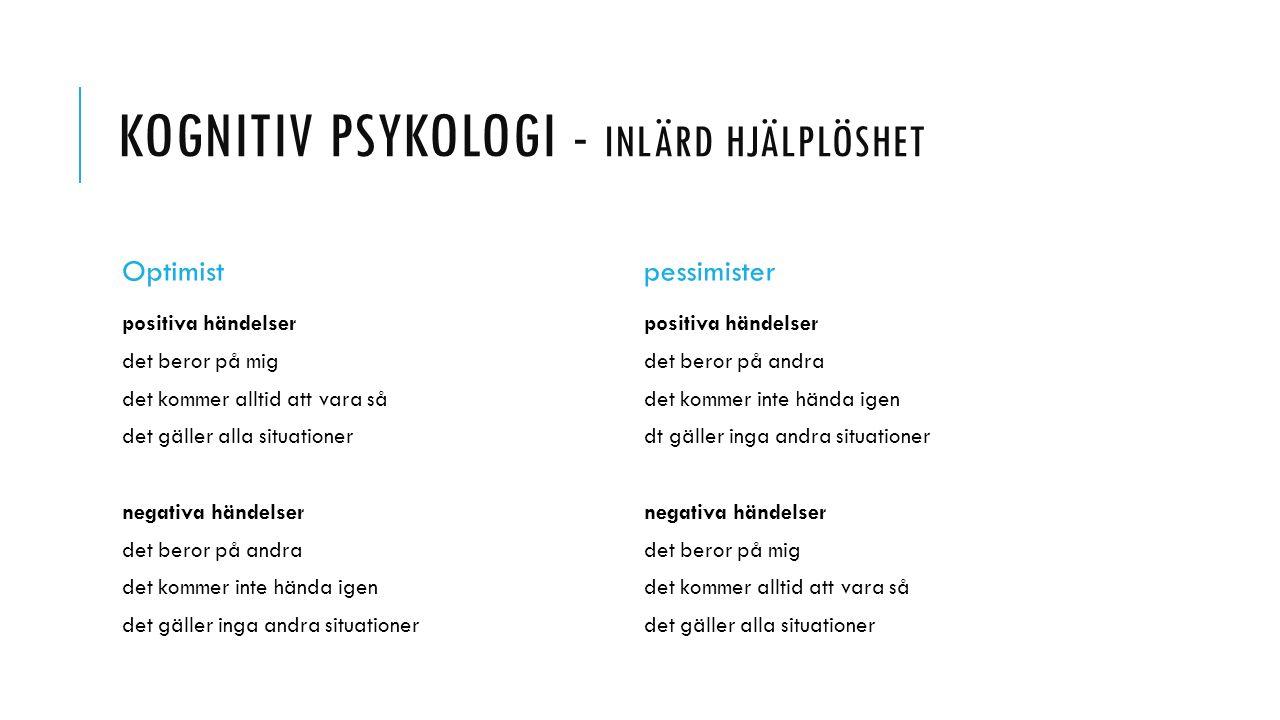 Kognitiv psykologi - Inlärd hjälplöshet
