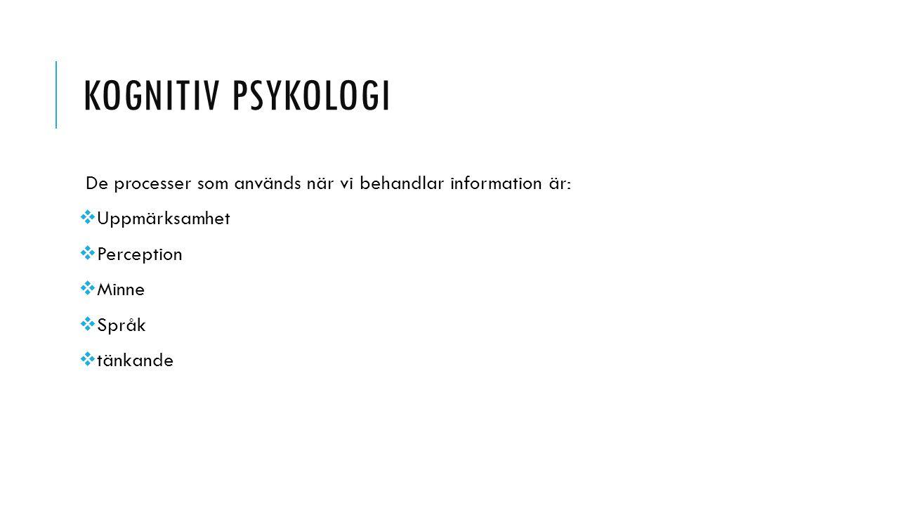 Kognitiv psykologi De processer som används när vi behandlar information är: Uppmärksamhet. Perception.