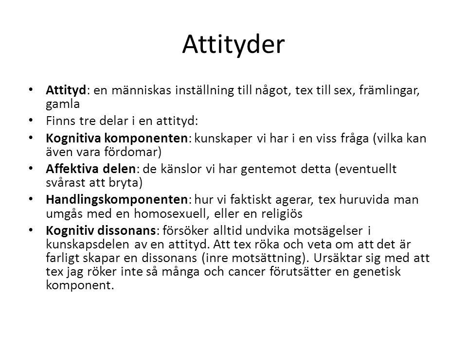 Attityder Attityd: en människas inställning till något, tex till sex, främlingar, gamla. Finns tre delar i en attityd: