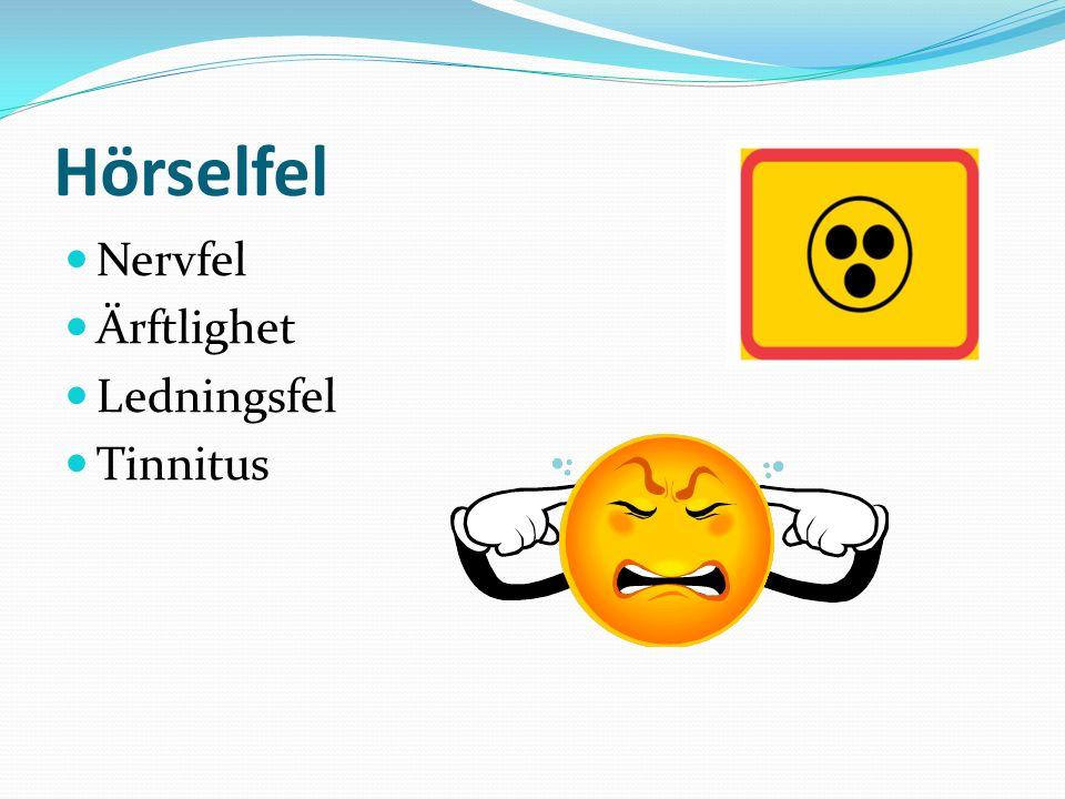 Hörselfel Nervfel Ärftlighet Ledningsfel Tinnitus