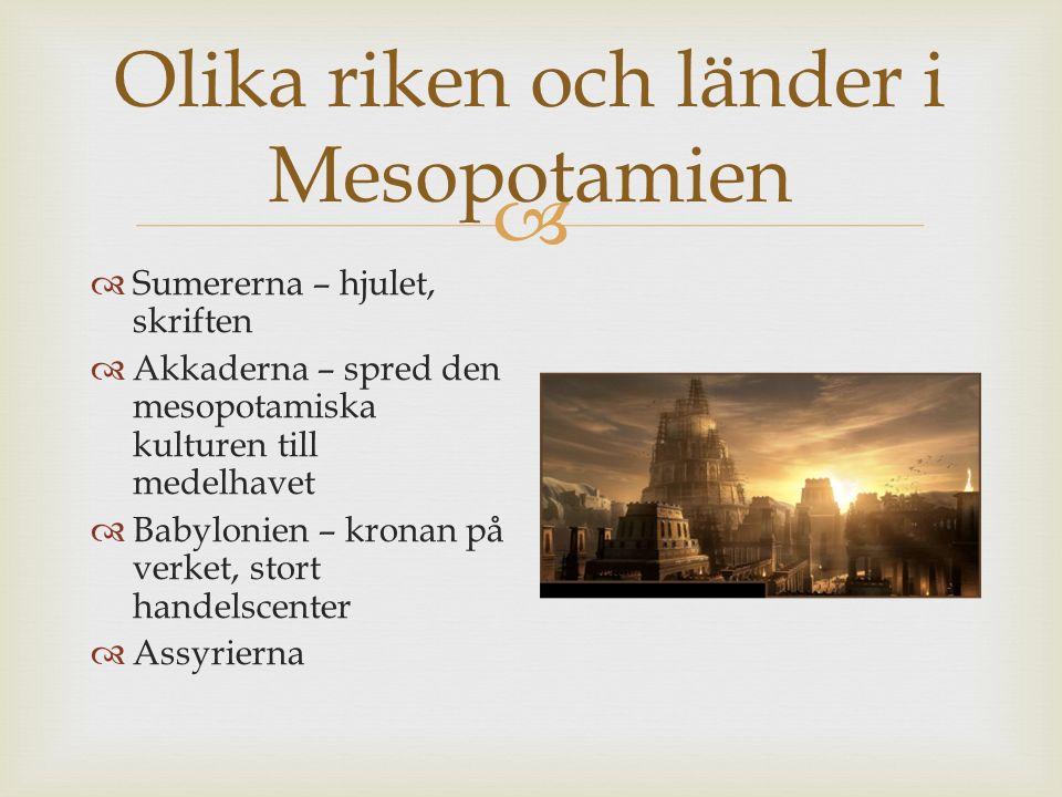 Olika riken och länder i Mesopotamien