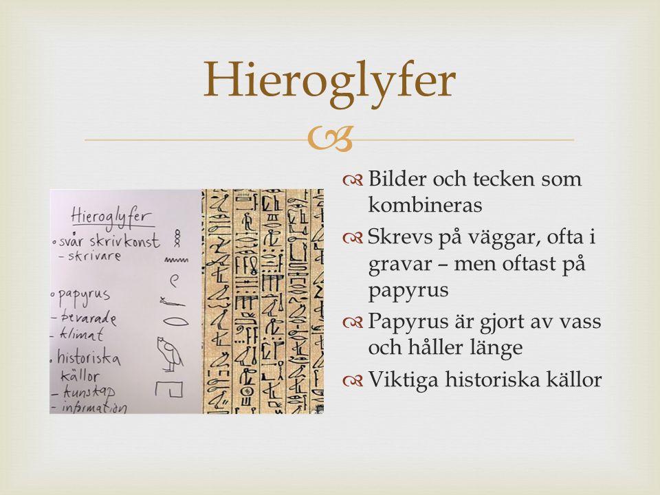 Hieroglyfer Bilder och tecken som kombineras