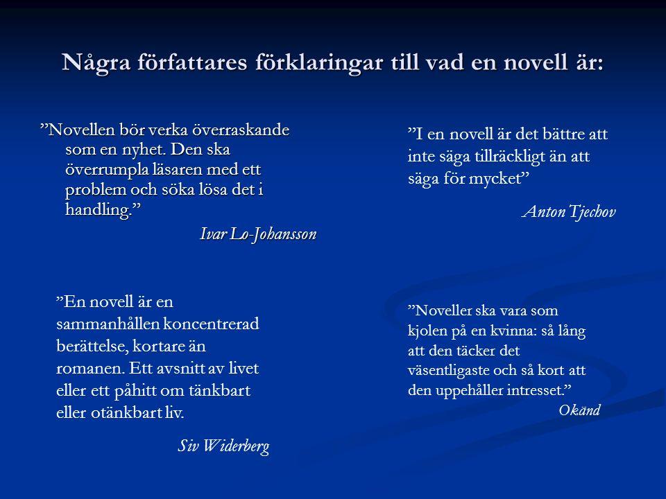 Några författares förklaringar till vad en novell är:
