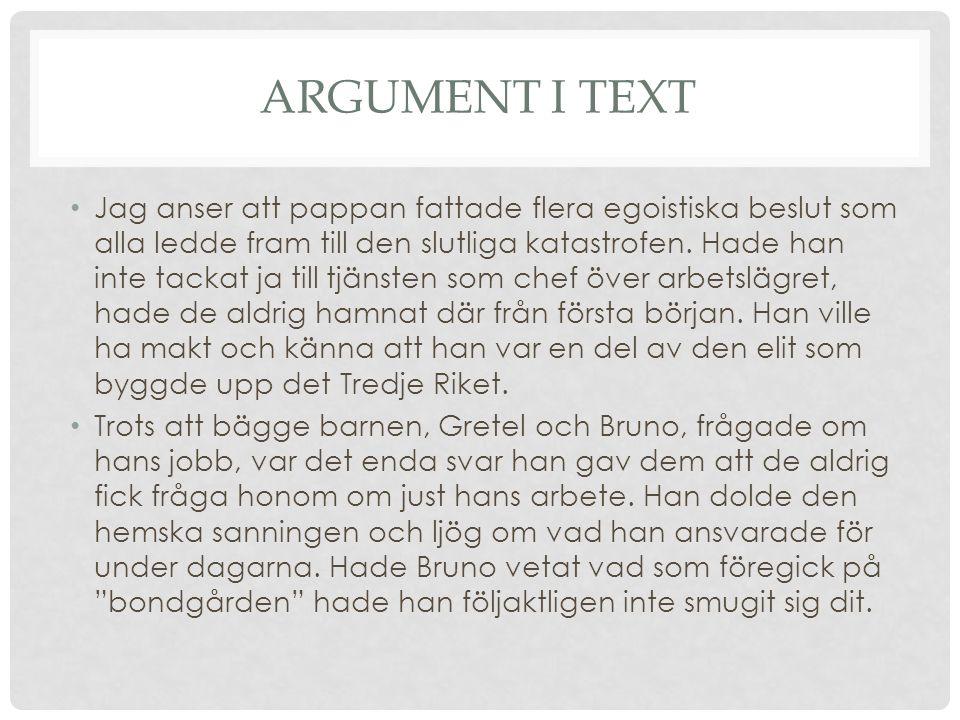 Argument i text