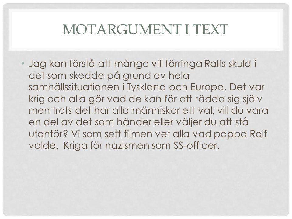 Motargument i text