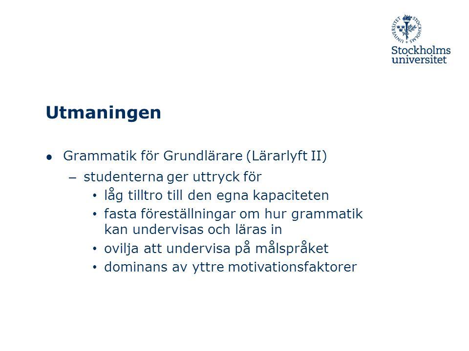 Utmaningen Grammatik för Grundlärare (Lärarlyft II)