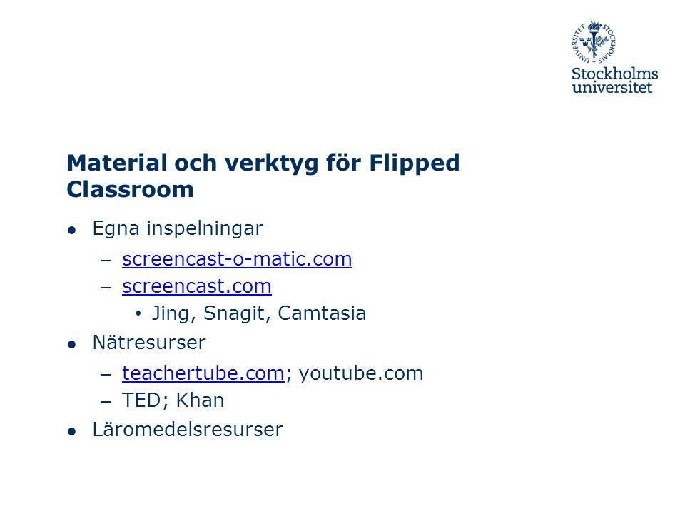 Material och verktyg för Flipped Classroom