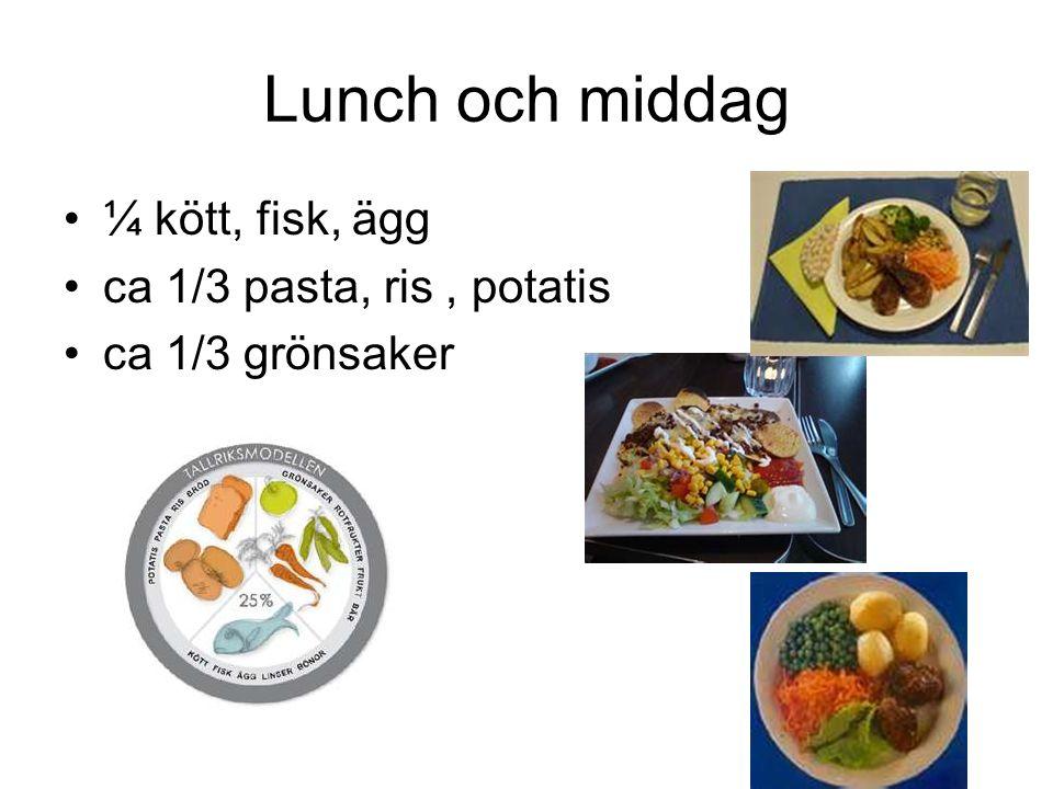 Lunch och middag ¼ kött, fisk, ägg ca 1/3 pasta, ris , potatis