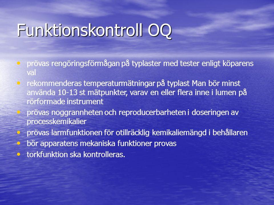 Funktionskontroll OQ prövas rengöringsförmågan på typlaster med tester enligt köparens val.