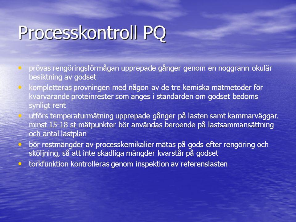 Processkontroll PQ prövas rengöringsförmågan upprepade gånger genom en noggrann okulär besiktning av godset.