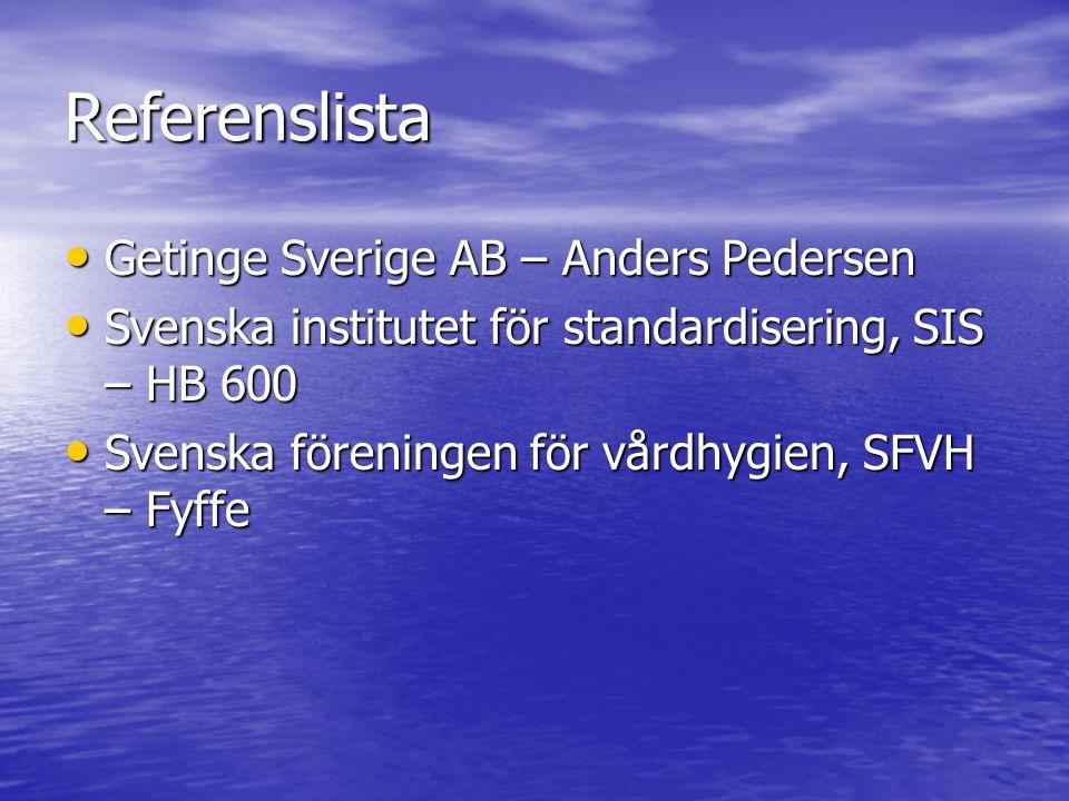 Referenslista Getinge Sverige AB – Anders Pedersen