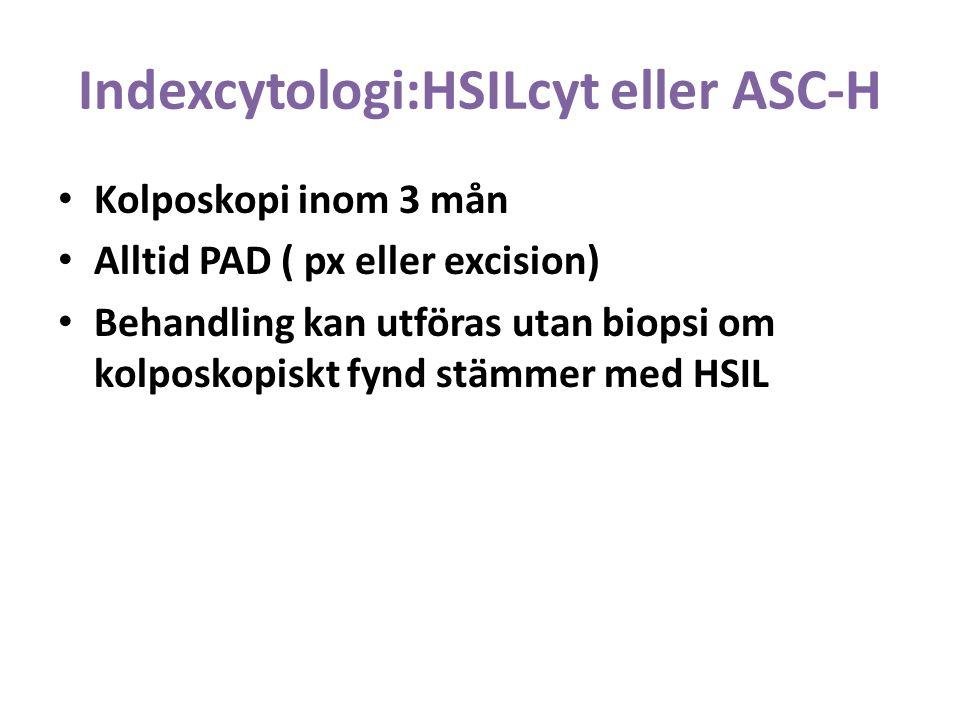 Indexcytologi:HSILcyt eller ASC-H