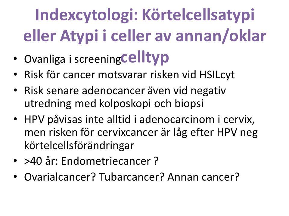 Indexcytologi: Körtelcellsatypi eller Atypi i celler av annan/oklar celltyp