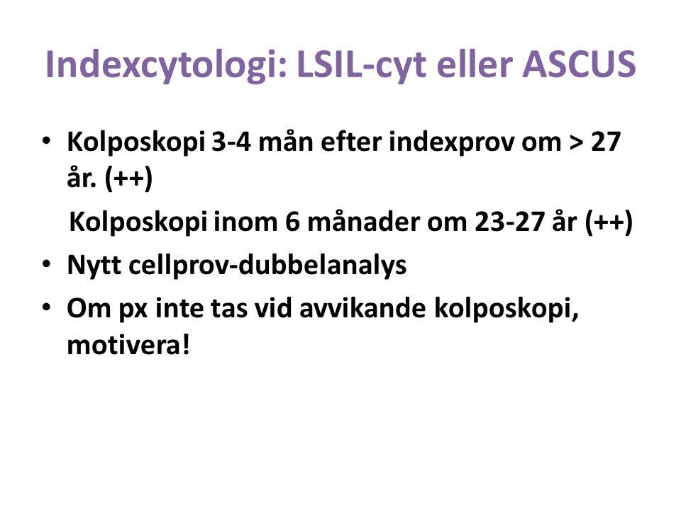 Indexcytologi: LSIL-cyt eller ASCUS