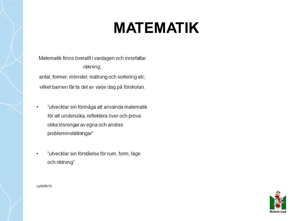 MATEMATIK Matematik finns överallt i vardagen och innefattar räkning,