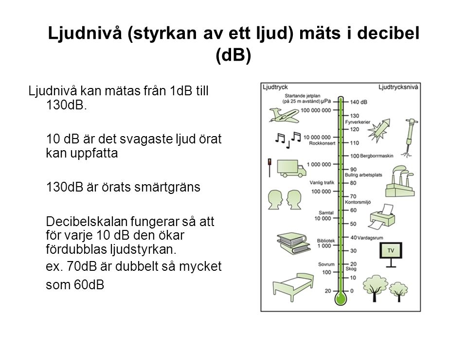 Ljudnivå (styrkan av ett ljud) mäts i decibel (dB)