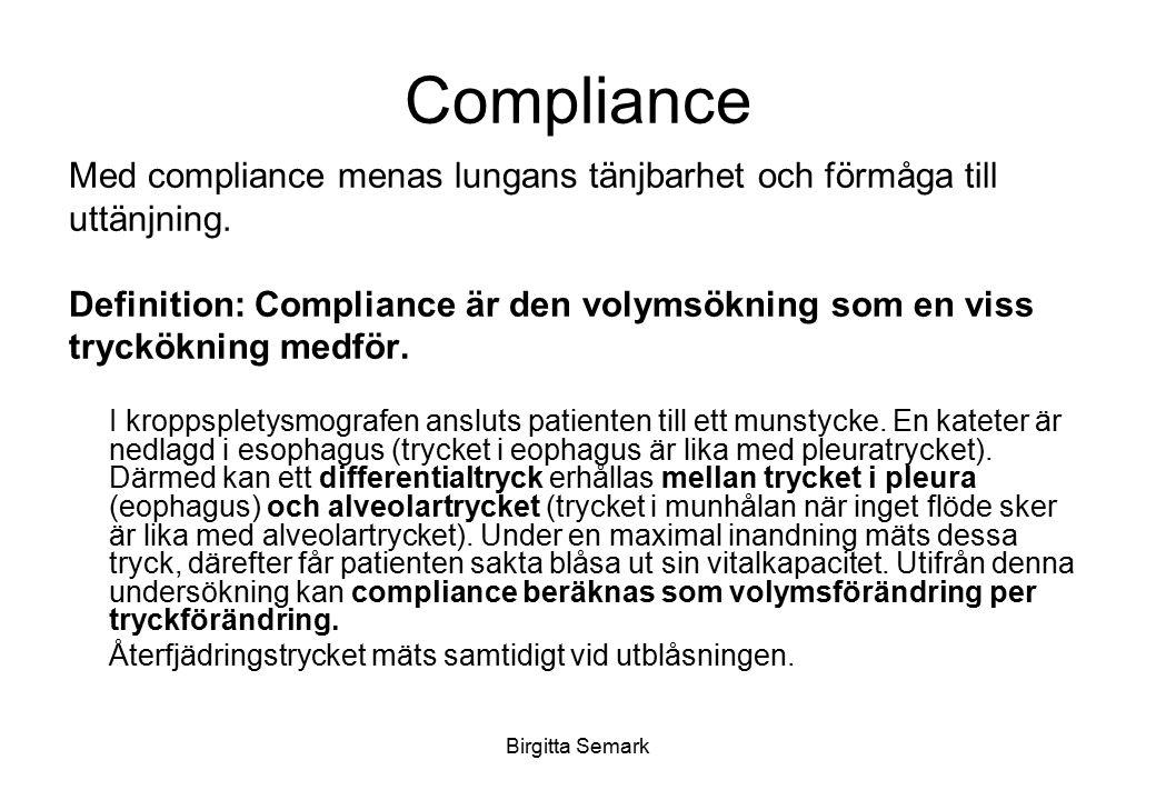 Compliance Med compliance menas lungans tänjbarhet och förmåga till